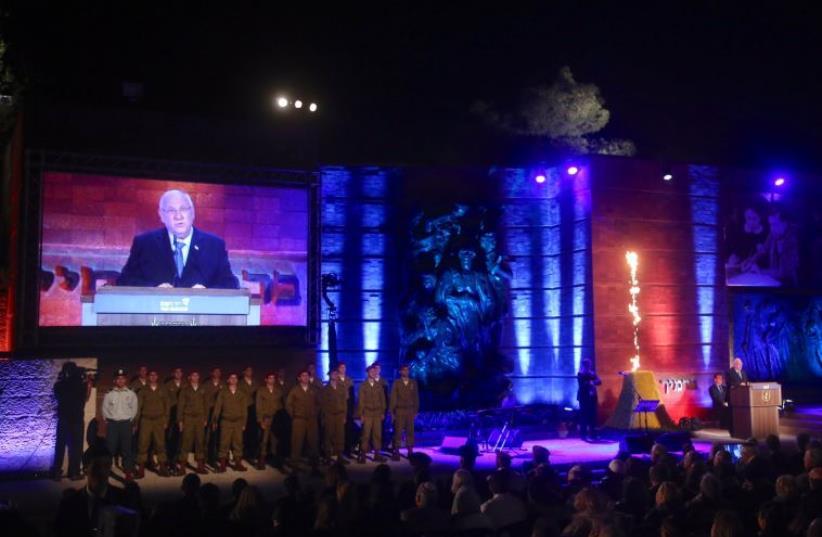 President Reuven Rivlin speaking at the Yad Vashem Holocaust Rememberance Day ceremony (photo credit: MARC ISRAEL SELLEM/THE JERUSALEM POST)