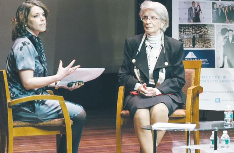 Young Friends board member Miriam Leichtling interviews Miriam Leichtling interviews Holocaust survivor Stefania Hecht in New York (photo credit: PAKO DOMINGUEZ)