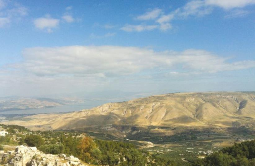 The Golan Heights and Lake Kinneret are seen from Umm Qais in Jordan (photo credit: LAURA KELLY)