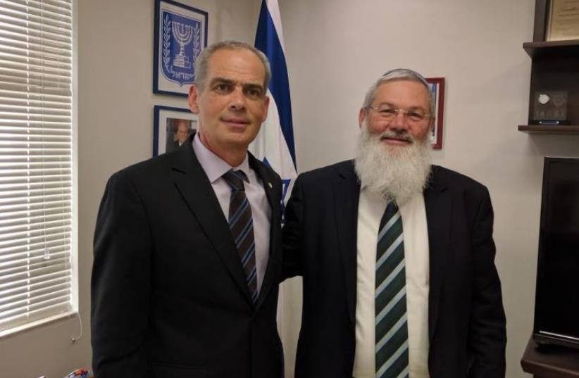 Deputy Defense Minister Eli Ben Dahan (R) and Israeli ambassador to Mexico Jonathan Peled (photo credit: Courtesy)