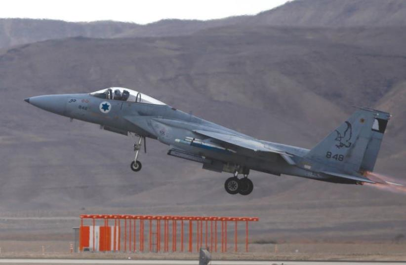 AN IAF F-15 takes off from the Uvda Air Force Base in southern Israel. (photo credit: REUTERS)