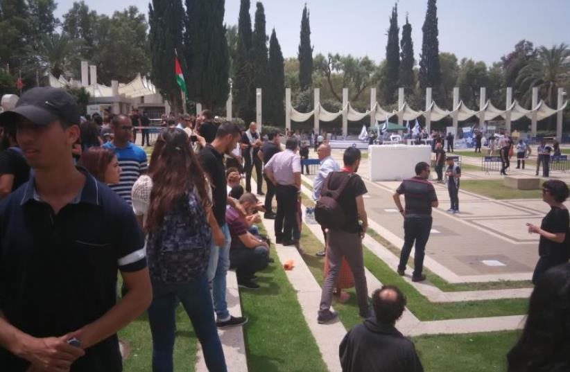Nakba day demonstrations at Tel Aviv University (photo credit: Ariel Ben Solomon)