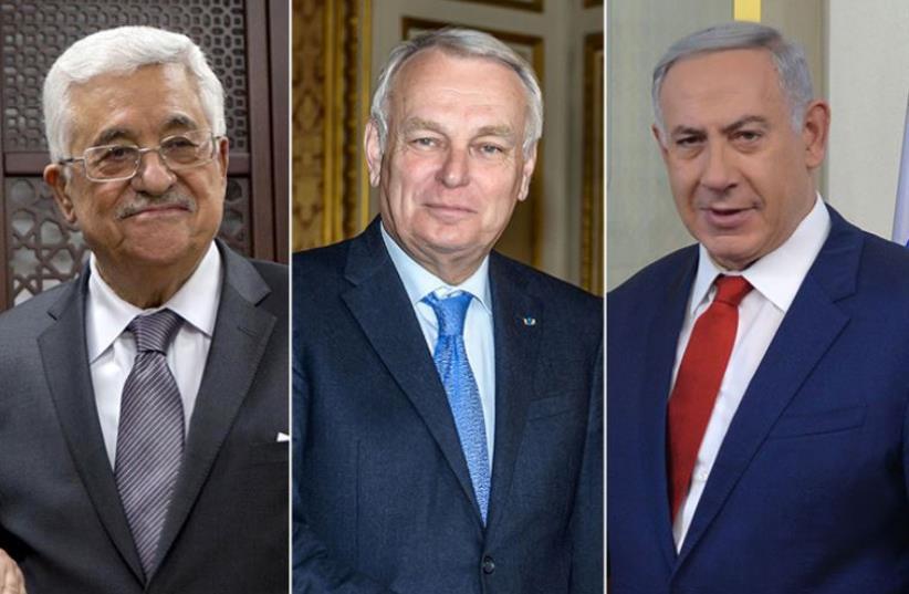 Netanyahu, Ayrault and Abbas (photo credit: KOBI GIDEON/GPO,REUTERS)