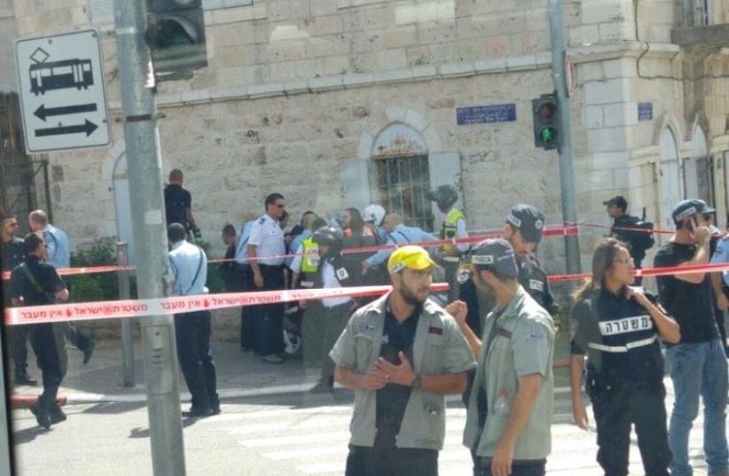 Scene of stabbing attack in Jerusalem (photo credit: YONATAN COHEN)