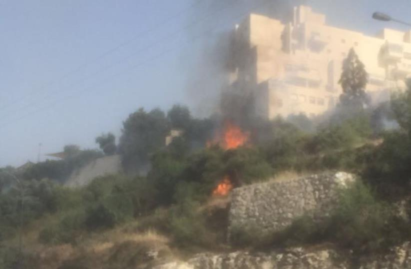 Fire in Jerusalem's Givat Shaul neighborhood (photo credit: ISRAEL POLICE)