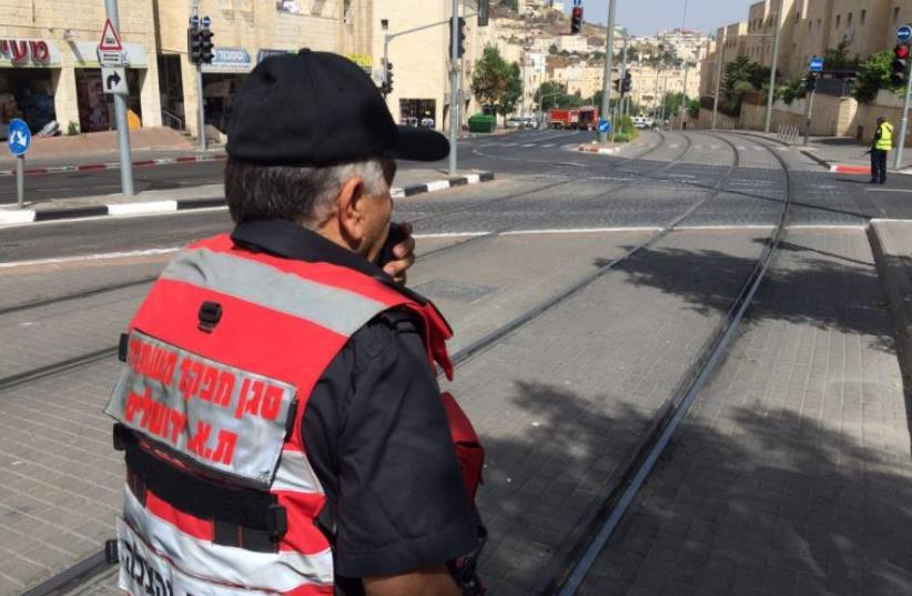 Forces on site of mysterious hazmat spill in Jerusalem. (photo credit: JERUSALEM FIRE AND RESCUE SERVICES)