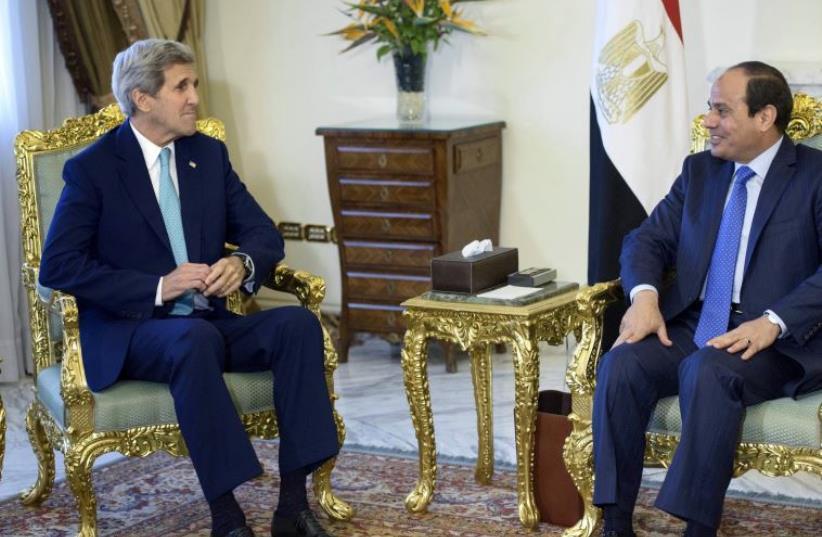 US Secretary of State John Kerry meets Egyptian President Abdel Fatah al-Sisi (file) (photo credit: REUTERS)