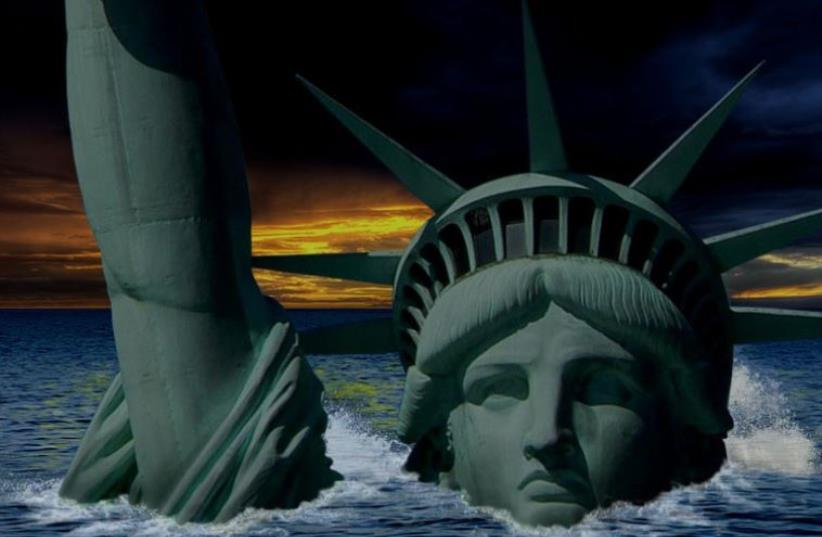 The Statue of Liberty submerged (illustrative) (photo credit: Courtesy)