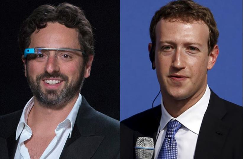Sergey Brin and Mark Zuckerberg (photo credit: REUTERS)