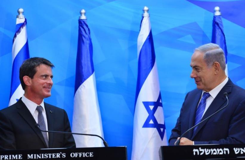 PM Netanyahu hosts French counterpart Manuel Valls (photo credit: KOBI GIDEON/GPO)