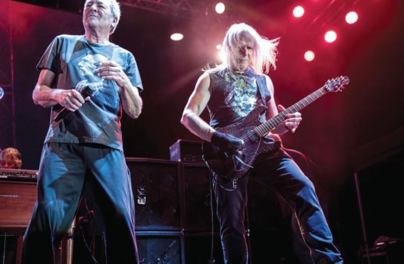 DEEP PURPLE'S Ian Gillan (left) and Steve Morse rock out in Live Park Rishon Lezion. (photo credit: LIOR KETER)