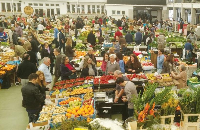 The varied and vibrant food market in Cascais, Portugal (photo credit: AYA MASSIAS)