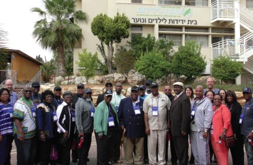 Leaders from the National Baptist Convention of America visit the International Fellowship of Christians and Jews' Neveh Michael Children's Home in Pardes Hanna this week. (photo credit: COURTESY IFCJ)