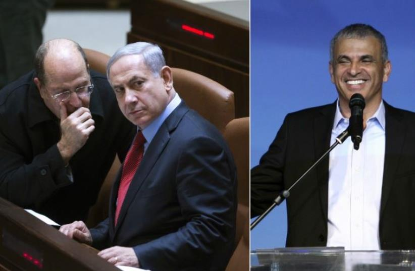 From right: Finance Minister Moshe Kahlon, Prime Minister Benjamin Netanyahu, and Moshe Ya'alon (photo credit: REUTERS)