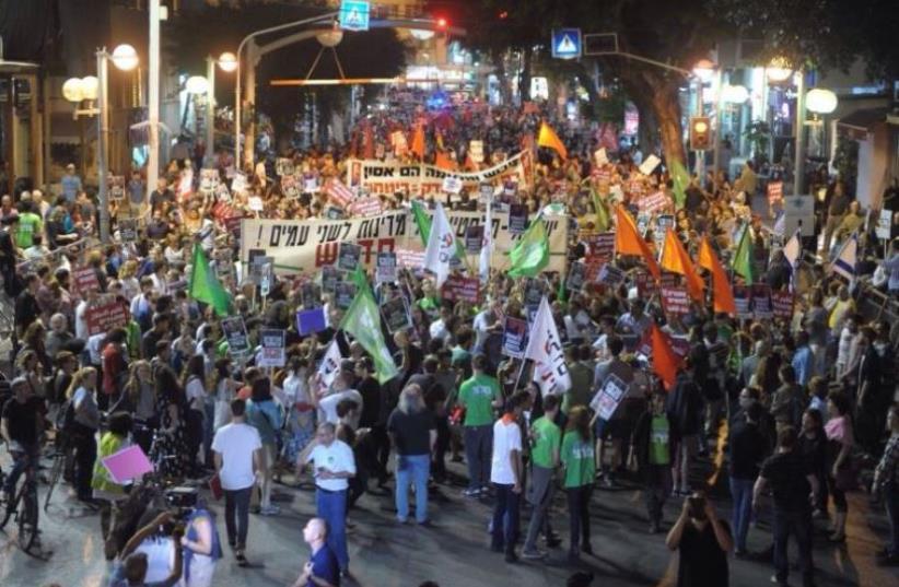 Protest against Liberman's appointment (photo credit: AVSHALOM SHOSHANI)