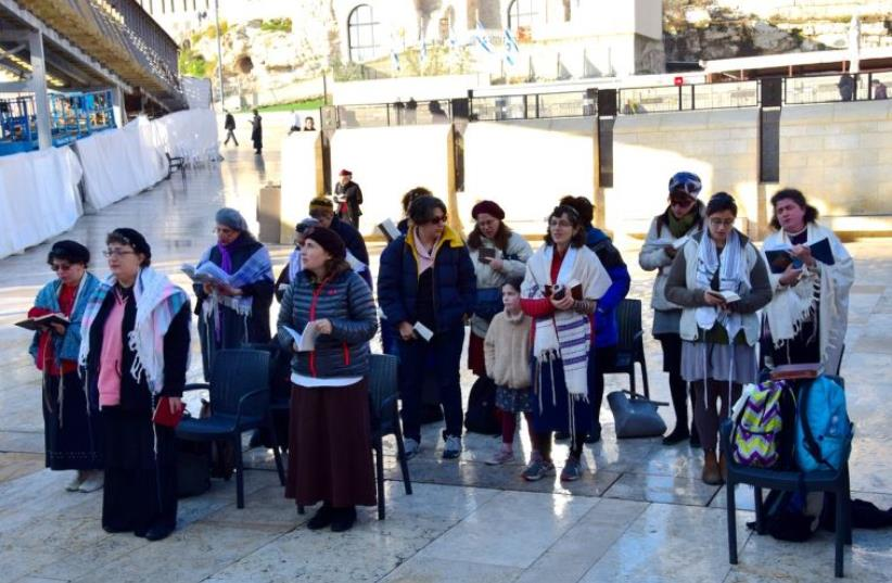 Women of the wall praying at the Western Wall (photo credit: Courtesy)