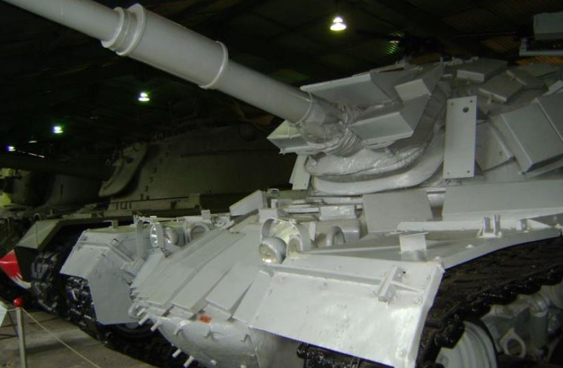 Ex-Israeli ERA-armored M48 tank. Tank was captured during the Battle of Sultan Yacoub. (photo credit: Wikimedia Commons)