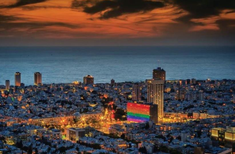 In 2015, the White City was lit up in the colors of the rainbow flag in honor of pride. (photo credit: TEL AVIV-JAFFA MUNICIPALITY)