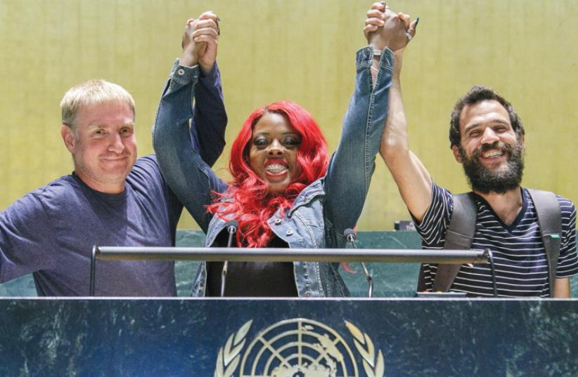 IDO HAAR (left), Princess Shaw and Kutiman attend a special screening of 'Princess Shaw' at the UN headquarters in New York (photo credit: VICTOR MANUEL RODRÍGUEZ UROSA)