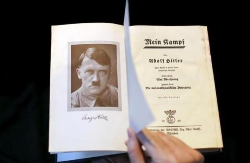 A copy of Adolf Hitler's book ''Mein Kampf'' (My Struggle) from 1940 is pictured in Berlin, Germany (photo credit: REUTERS)