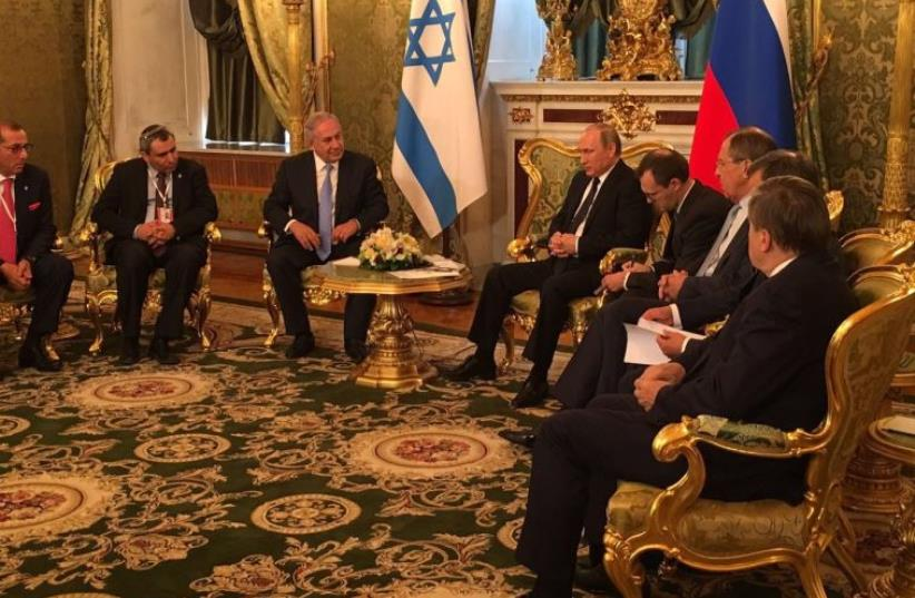Prime Minister Benjamin Netanyahu meets Russian President Vladimir Putin in Moscow (photo credit: Courtesy)