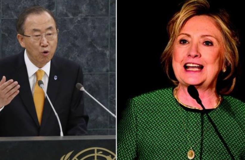 Hillary Rodham Clinton and Ban Ki-Moon (photo credit: REUTERS)