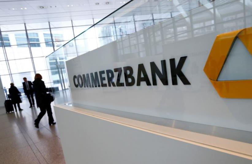Visitors arrive to Commerzbank's headquarters before the bank's annual news conference in Frankfurt, Germany, February 12, 2016 (photo credit: REUTERS)