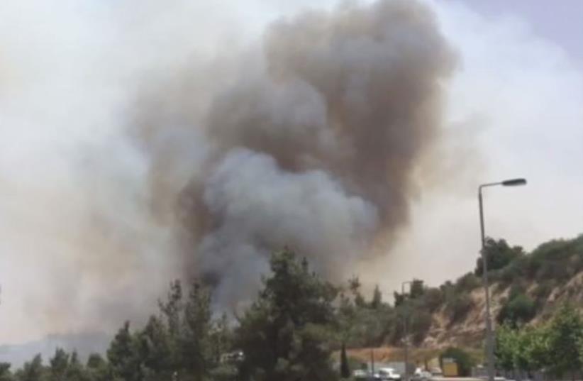 Forest fire in Jerusalem, June 15, 2016 (photo credit: screenshot)