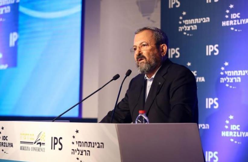 Ehud Barak addresses the Herzliya Conference, June 16, 2016 (photo credit: ADI COHEN ZEDEK)