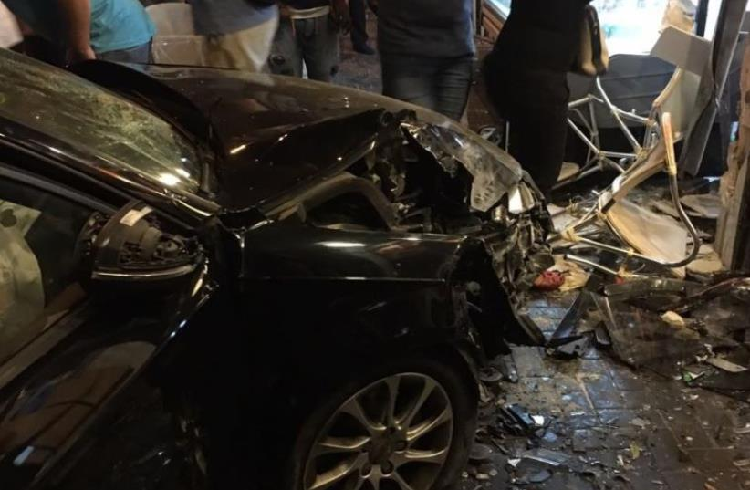 Tel Aviv car crash that killed Alan Weinkrantz and two others (photo credit: COURTESY ASSAF KUPFER)