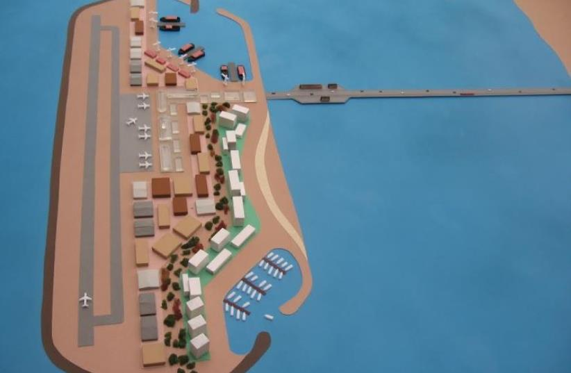 Gaza island model as presented on June 20, 2016 (photo credit: COURTESY/THE ISRAEL PROJECT)