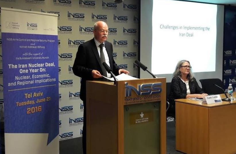 German Ambassador to Israel Dr. Clemens Von Goetze at INSS Iran Conference (photo credit: YONAH JEREMY BOB)