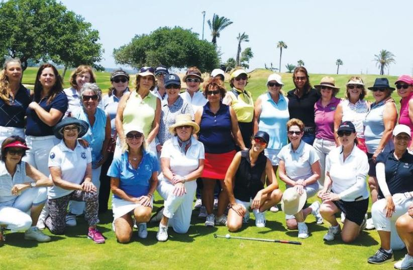 ALL THE participants in the Ga'ash Golf Club's Ladies Day tournament pose on the course (photo credit: Courtesy)
