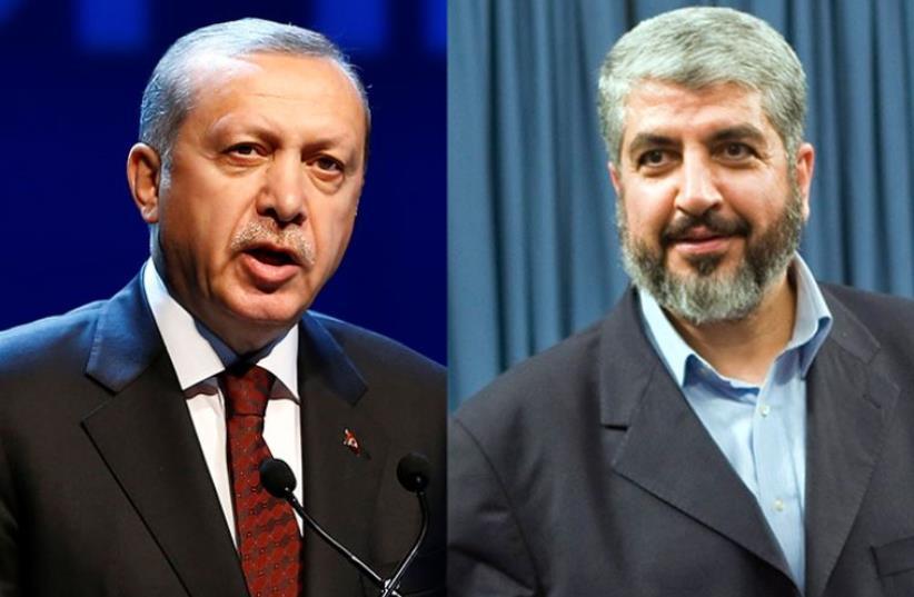 Erdogan and Mashaal (photo credit: REUTERS)