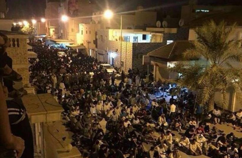 Protesters hold sit-in outside Isa Qassim's house (photo credit: ARAB SOCIAL MEDIA)