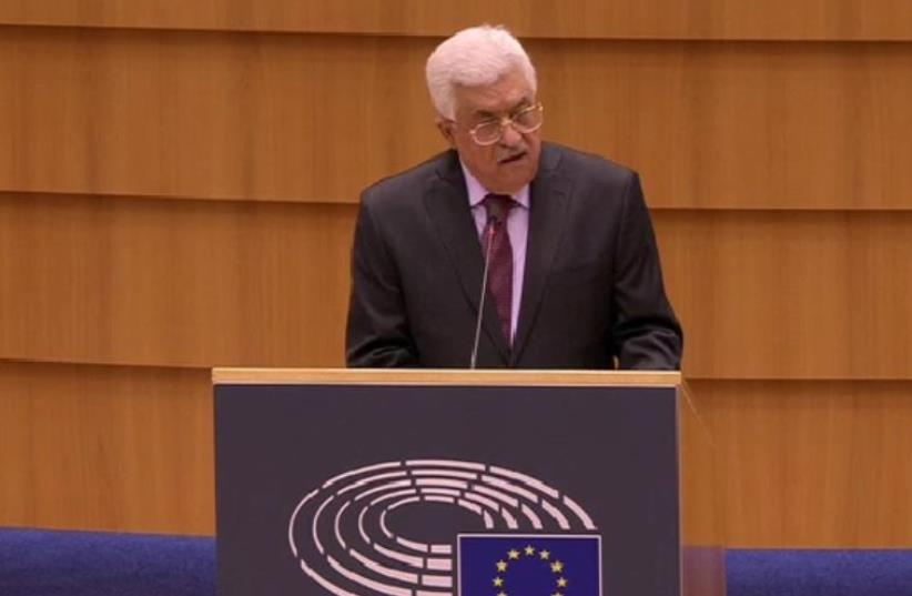 Abbas addresses European Parliament (photo credit: screenshot)
