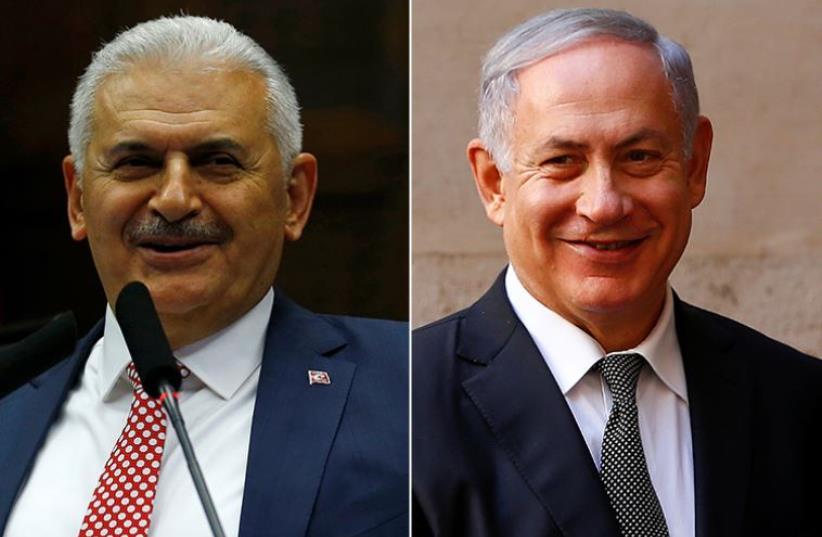 Netanyahu and Yildirim (photo credit: REUTERS)