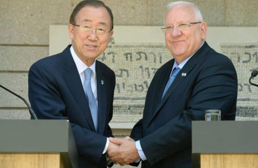 Rivlin and Ban Ki-moon (photo credit: Mark Neiman/GPO)