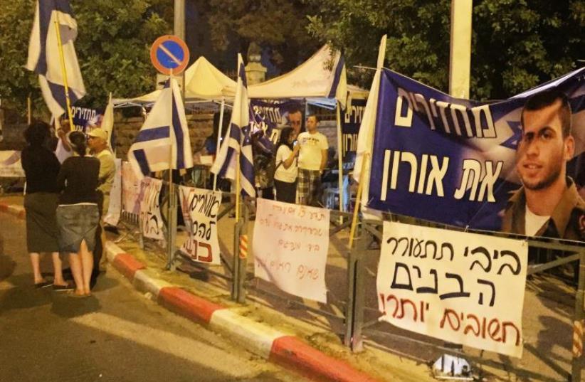 Protest against Turkey deal outside of Prime Minister's Residence in Jerusalem (photo credit: SETH J. FRANTZMAN)