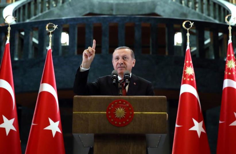 Turkish President Tayyip Erdogan makes a speech during an iftar event in Ankara, Turkey, June 27, 2016 (photo credit: REUTERS)