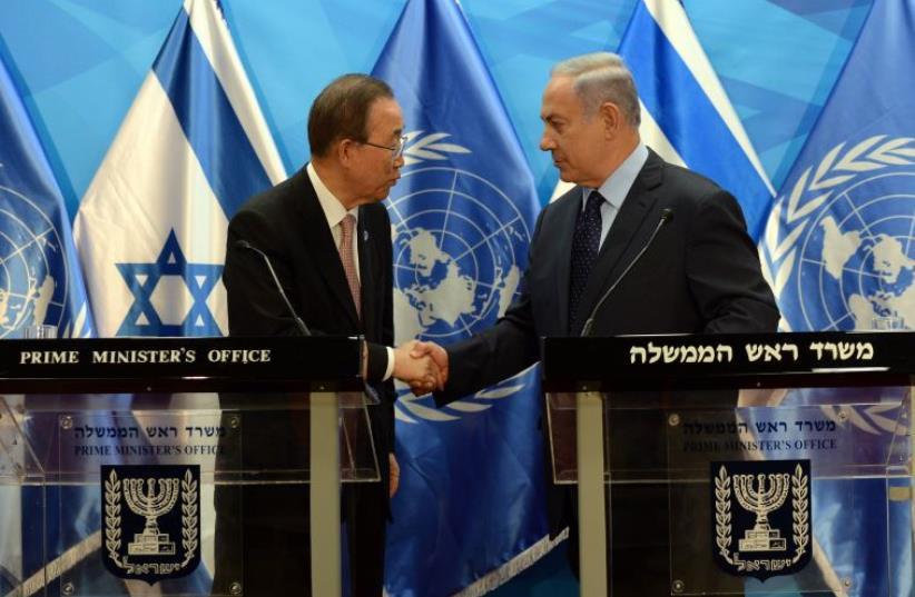 PM Netanyahu and Ban Ki-moon  (photo credit: HAIM ZACH/GPO)