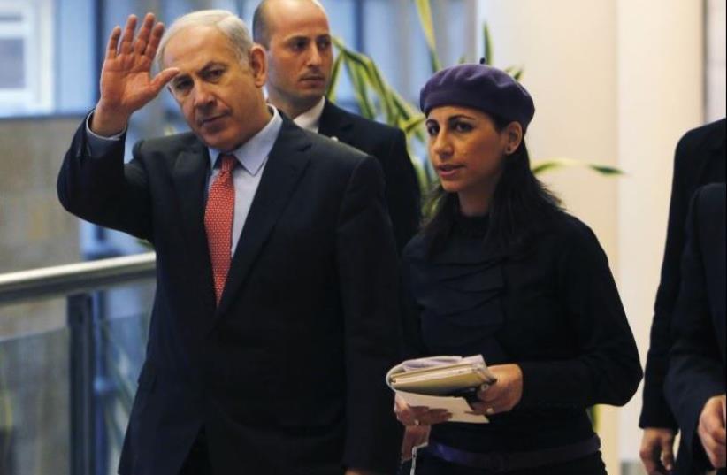 PM Netanyahu with Perach Lerner (photo credit: REUTERS)