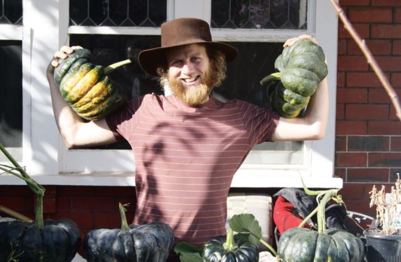 Showing off gourds at Shefa food forest (photo credit: Courtesy)