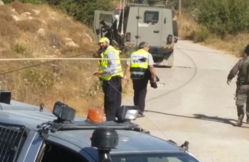 Scene of terrorist attack in Kiryat Arba, June 30, 2016 (photo credit: ZAKA RESCUE AND RECOVERY ORGANIZATION)