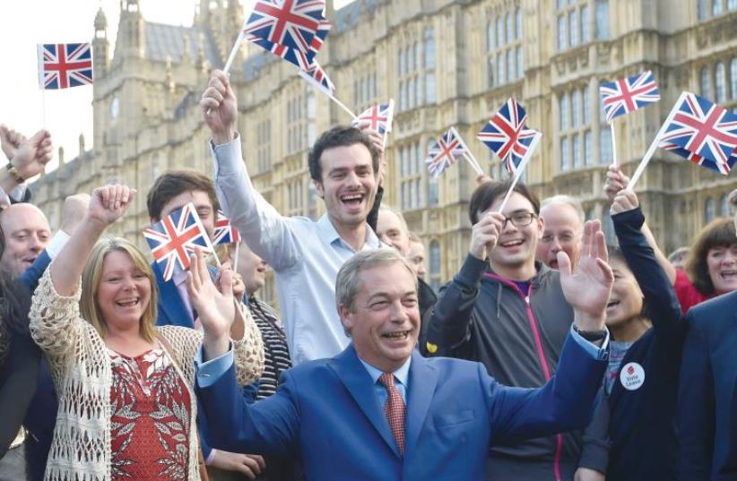 Nigel Farage, the leader of the United Kingdom Independence Party (UKIP), makes a statement after Britain voted to leave the European Union last week. (photo credit: TOBY MELVILLE/REUTERS)