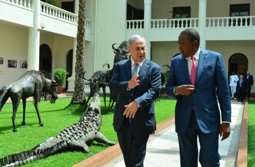 PM Netanyahu and Kenya's President Uhuru Kenyatta (photo credit: KOBI GIDEON/GPO)