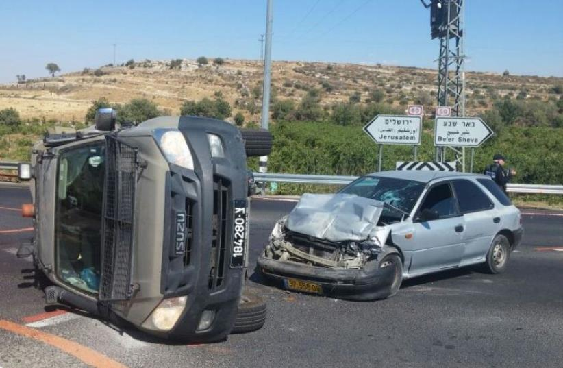 Suspected car-ramming attack near Neve Daniel in the West Bank, July 6, 2016 (photo credit: POLICE SPOKESPERSON'S UNIT)