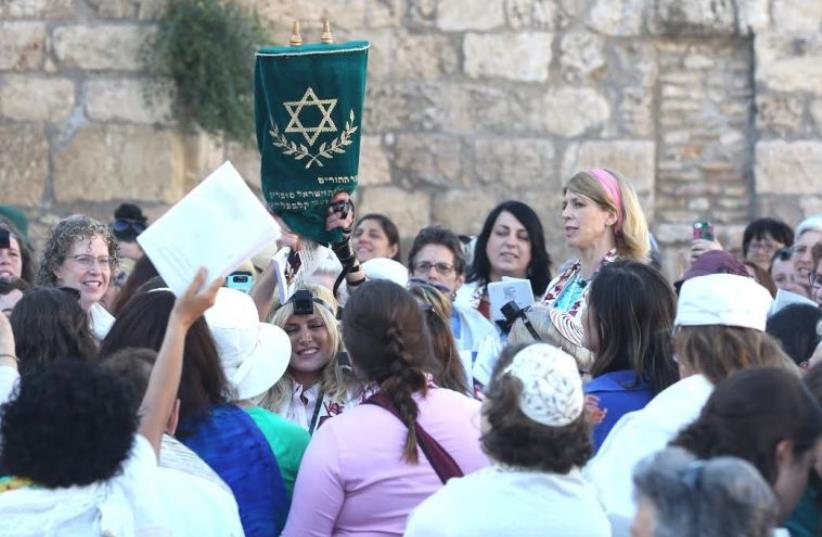 Women of the Wall demonstration at the Western Wall in Jerusalem, July 7, 2016 (photo credit: MARC ISRAEL SELLEM/THE JERUSALEM POST)