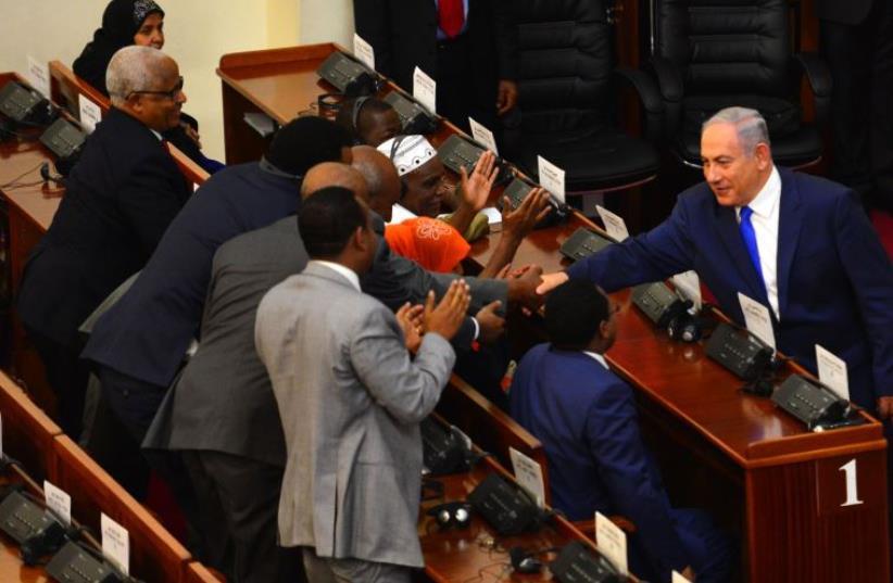 Prime Minister Benjamin Netanyahu at the Ethiopian Parliament, July 7 2016. (photo credit: KOBI GIDEON/GPO)