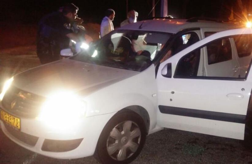 Man injured after Palestinian gunman shoots at his car near Tekoa (photo credit: GUSH ETZION REGIONAL COUNCIL)